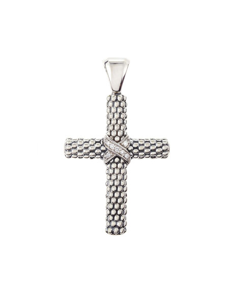 Silver Caviar Cross Pendant with Diamonds