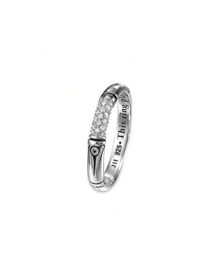 John Hardy Bamboo Silver Pave Diamond Slim Ring,