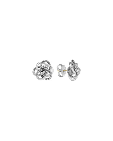Lagos Silver Smooth/Caviar Knot Stud Earrings