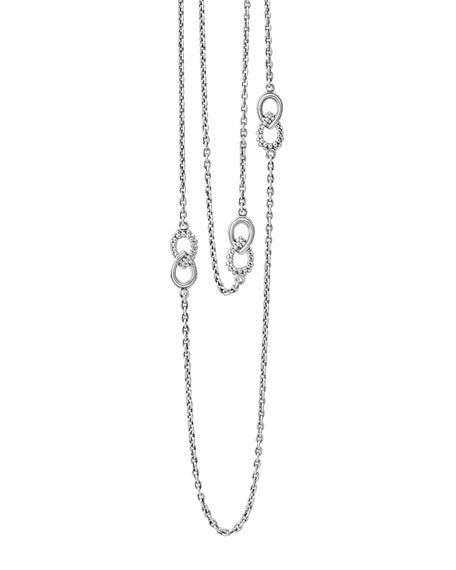 Silver Soiree Fluted & Caviar Station Necklace, 32""
