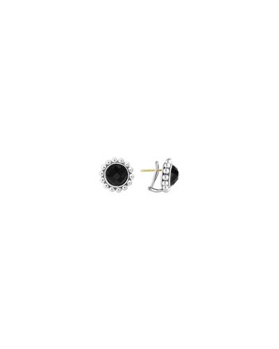 Silver Maya 10mm Black Onyx Stud Earrings