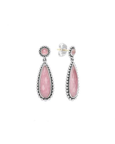 Silver Maya Rhodochrosite Drop Earrings
