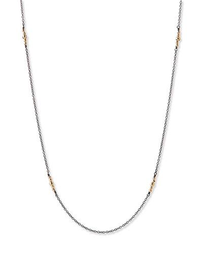 14k Gold-Beaded Station Necklace, 40""