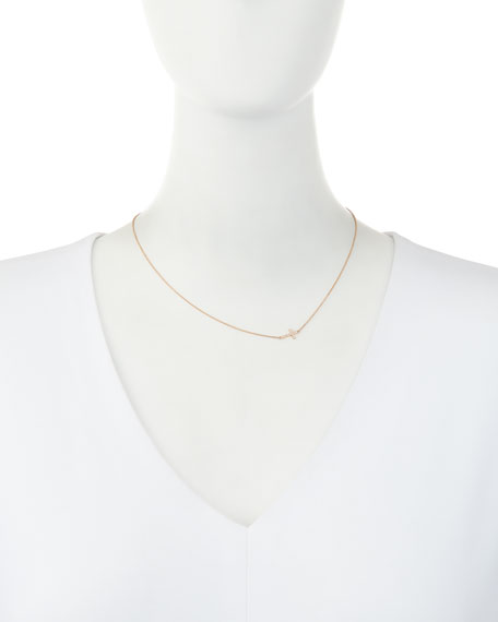 Small 14k Rose Gold Pave Diamond Cross Necklace