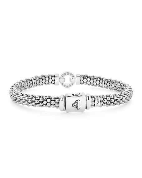 Sterling Silver Rope Bracelet with Diamonds, 6mm