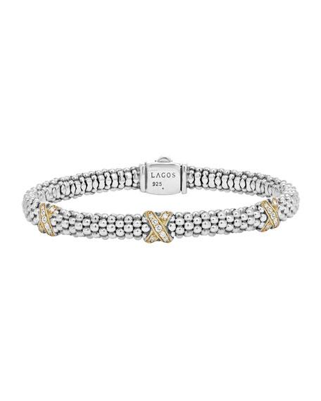 Silver Caviar Diamond X Bracelet with 18k Gold, 6mm