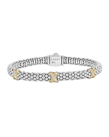 LAGOS 18K Gold And Sterling Silver X Collection Diamond Rope Bracelet, 6Mm in Silver/ Gold
