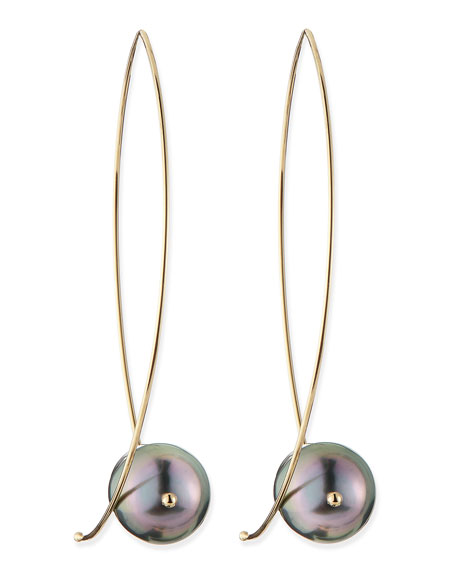 Image 1 of 2: Mizuki 14k Gold Black Tahitian Pearl Earrings