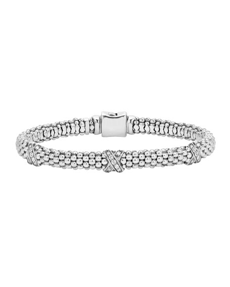 Silver Caviar Diamond X Bracelet, 6mm