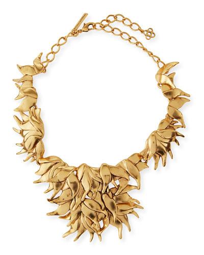 Golden Wavy Leaf Necklace