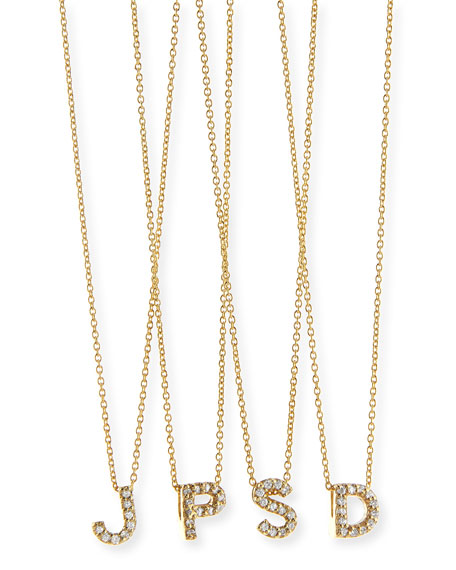 18k Yellow Gold Diamond Love Letter Necklace