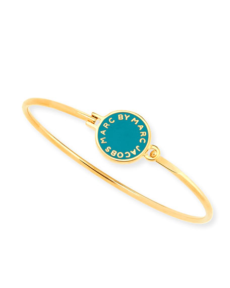 Skinny Bracelet with Logo Disc, Wintergreen
