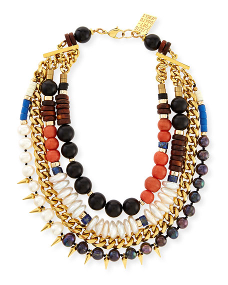 Three Bathers Beaded Statement Necklace