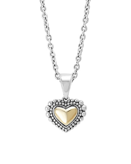 Lagos Silver & Gold Caviar Heart Pendant Necklace