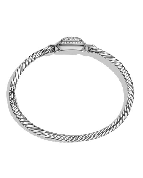 Albion Silver Bracelet with Diamonds, Size M