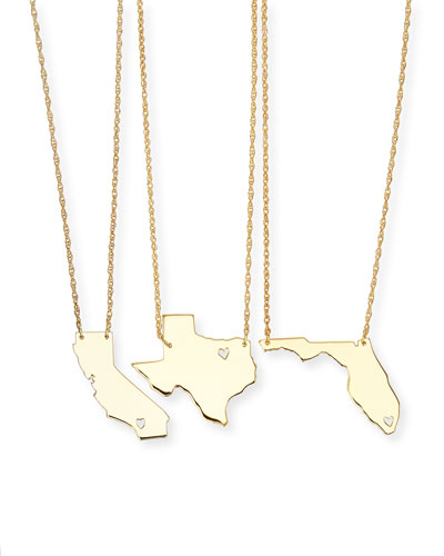 Personalized State Pendant Necklace  Gold  Alabama-Mississippi