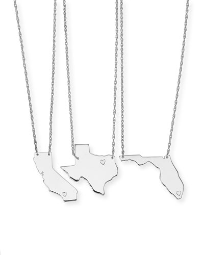 Personalized State Pendant Necklace  Silver  Alabama-Mississippi