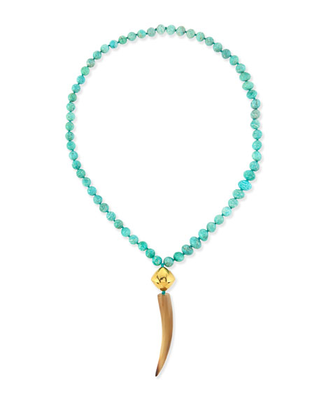 NEST Jewelry Amazonite Necklace with Horn Pendant