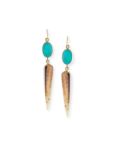 Light Horn Spike Earrings & Mixed Bangle Set