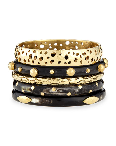 Ashley Pittman Nadra Dark Horn Bracelets, Set of 5