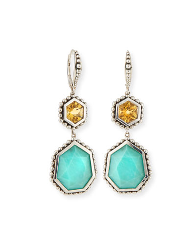 Citrine & Turquoise Hexagon Drop Earrings