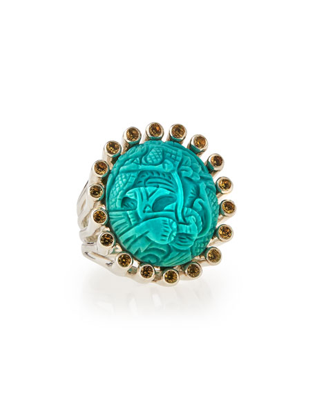 Stephen Dweck Carved Turquoise & Yellow Sapphire Ring