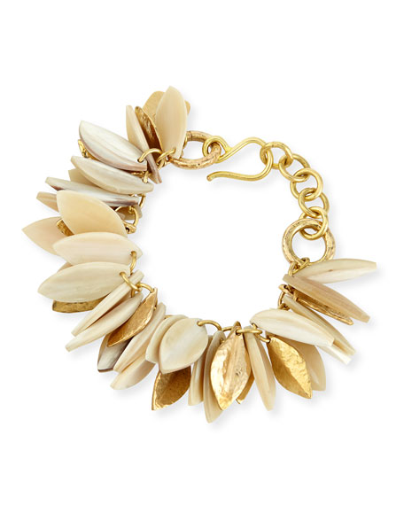 Ashley Pittman Tanzu Light Horn Chain Leaf Bracelet