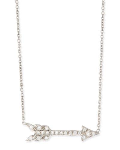 18k White Gold & Diamond Arrow Pendant Necklace