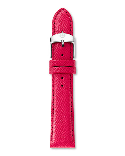 16mm Saffiano Leather Strap, Bright Pink