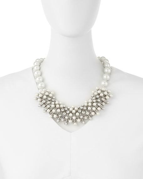 Pearly Crystal Cluster Necklace