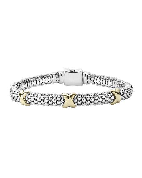 Silver & 18k Gold Caviar X Bracelet, 6mm