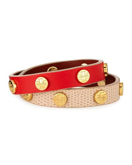 Double-Wrap Leather Logo Stud Bracelet