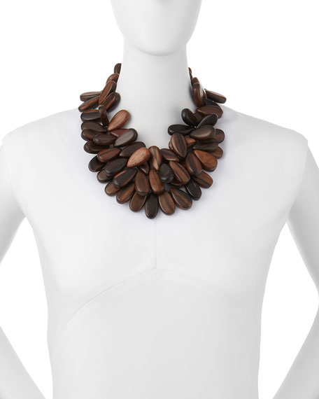 Tiger Ebony Wood Cluster Necklace