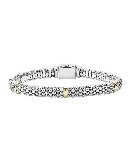 Signature Silver Caviar Bracelet with 18k Gold, 6mm