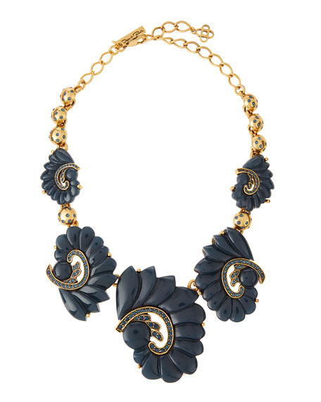 Oscar de la Renta Resin Swirl & Crystal Necklace, Navy