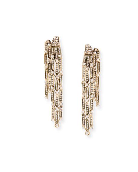 Crystal Shadow Fringe Clip Earrings