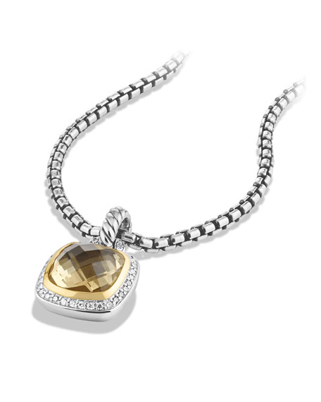 Albion Pendant with Champagne Citrine and Diamonds with 18k Gold