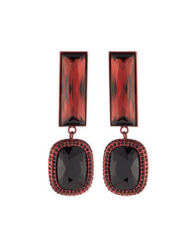 Rectangle Crystal Drop Earrings