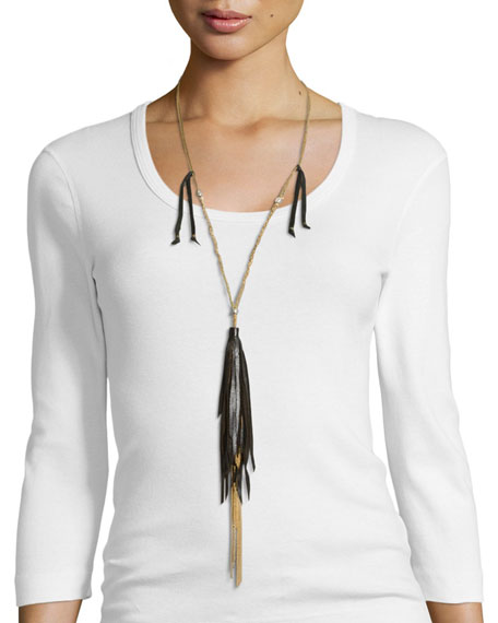 Johnny Was Collection Long Necklace W/ Tassels, Black