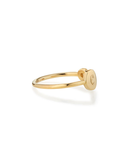 Image 2 of 2: Sarah Chloe Rocha 14k Gold Initial Open Diamond Ring