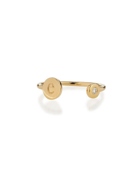 Image 1 of 2: Sarah Chloe Rocha 14k Gold Initial Open Diamond Ring