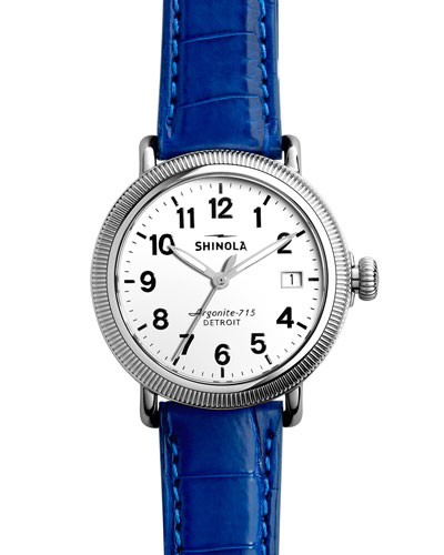 Runwell Coin Edge Watch with Blue Alligator Strap, 41mm