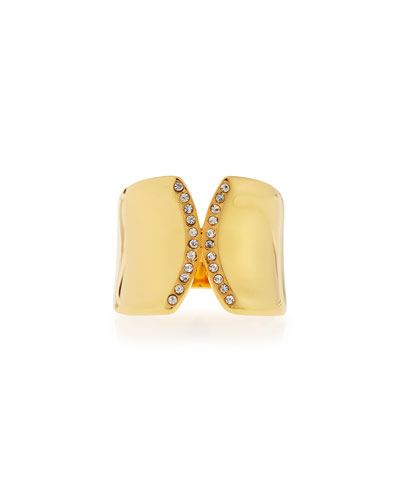 Inverso Gold-Plated Crystal Ring