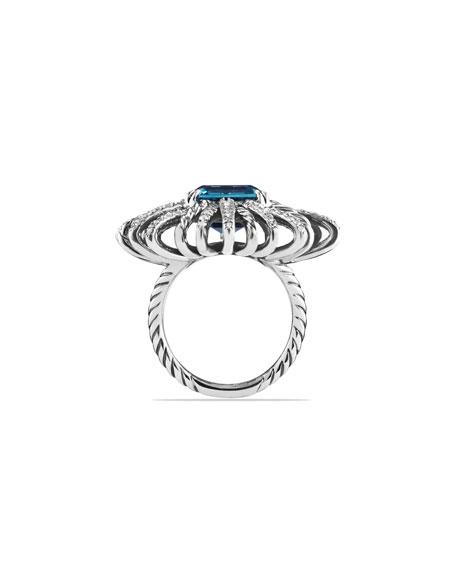 30mm Diamond & Blue Topaz Starburst Ring
