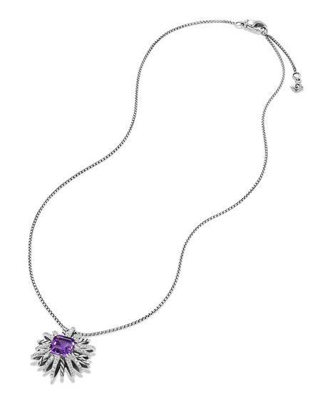 23mm Amethyst Starburst Pendant Necklace