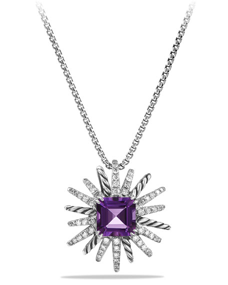 David Yurman 23mm Amethyst Starburst Pendant Necklace