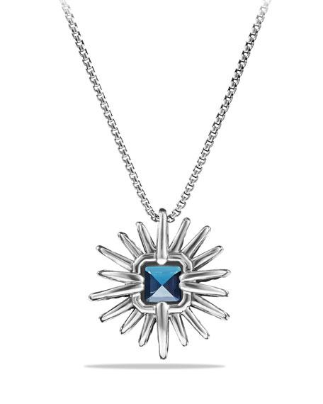 23mm Hampton Blue Topaz Starburst Pendant Necklace