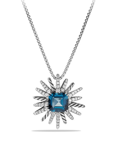 David Yurman 23mm Hampton Blue Topaz Starburst Pendant