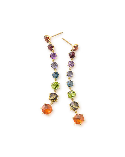 18k Rock Candy Dangle Earrings, Fall Rainbow