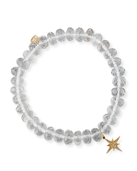 Sydney Evan 8mm Faceted Clear Quartz Bead Bracelet